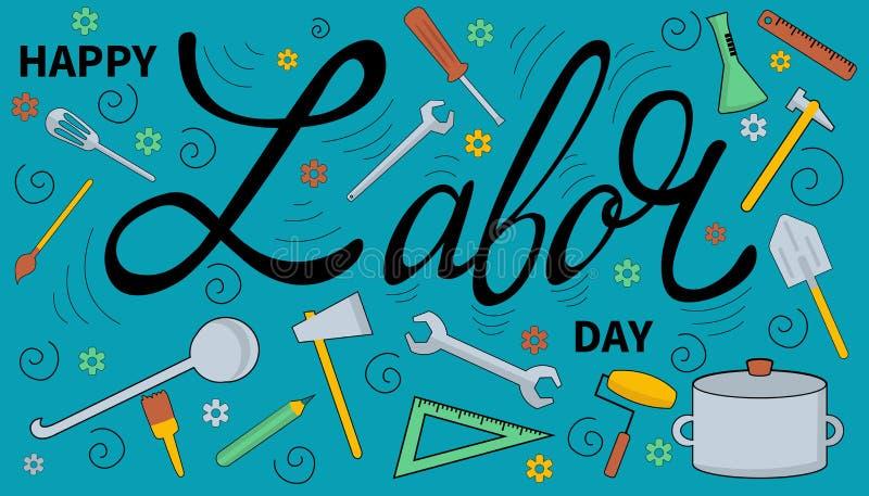 Lyckligt baner för arbets- dag 1st May mall för restaurang för begreppsdesign vektor illustrationer