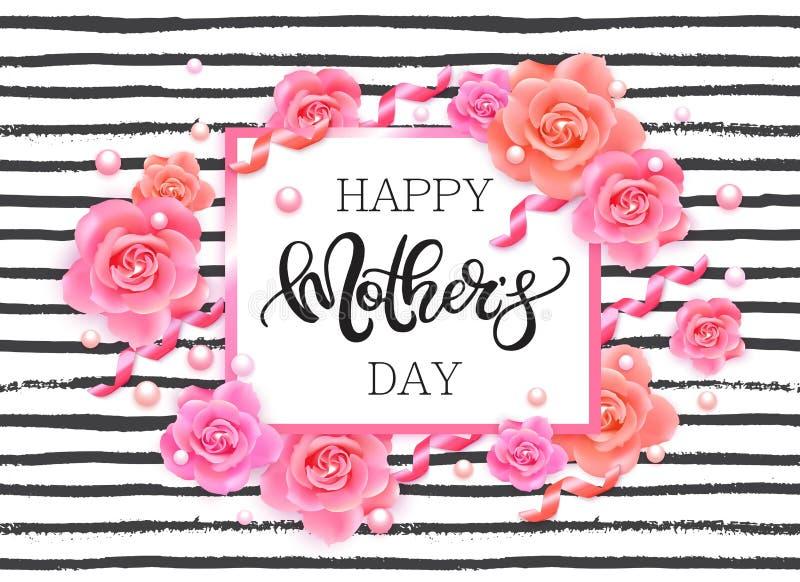 Lyckligt baner för dag för moder` s med rosa rosor stock illustrationer