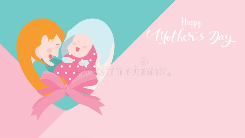 Lyckligt baner för dag för moder` s Mum som skrattar, ler, rymmer och kramar henne för att behandla som ett barn med att bilda av royaltyfri illustrationer