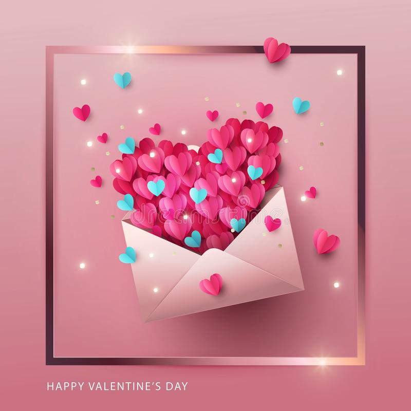 Lyckligt baner för valentindagdesign, hälsningkort, affisch Illustration av förälskelsebokstaven stock illustrationer
