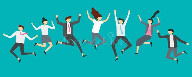 Lyckligt banhoppningaffärsfolk Upphetsade kontorslagarbetare som hoppar på anställdpartiet som ler professionell, hoppar vektorn stock illustrationer