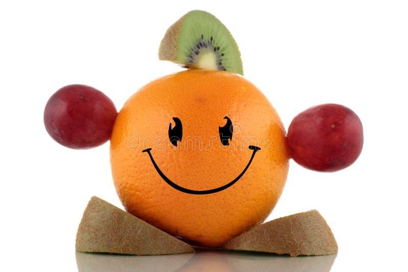 Lyckligt banta. Rolig fruktteckensamling royaltyfri bild