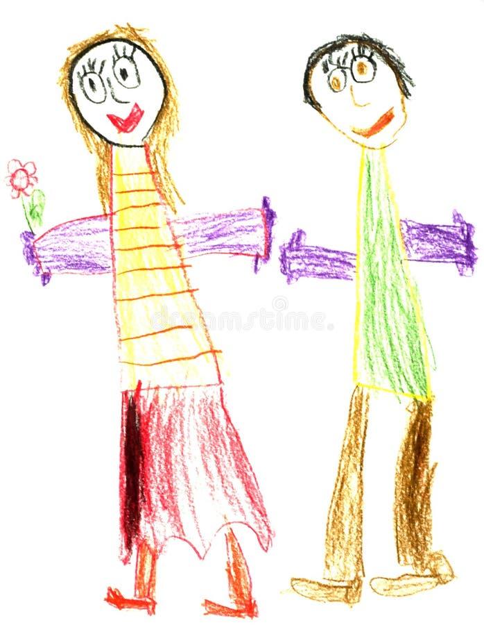 lyckligt barn för par vektor illustrationer