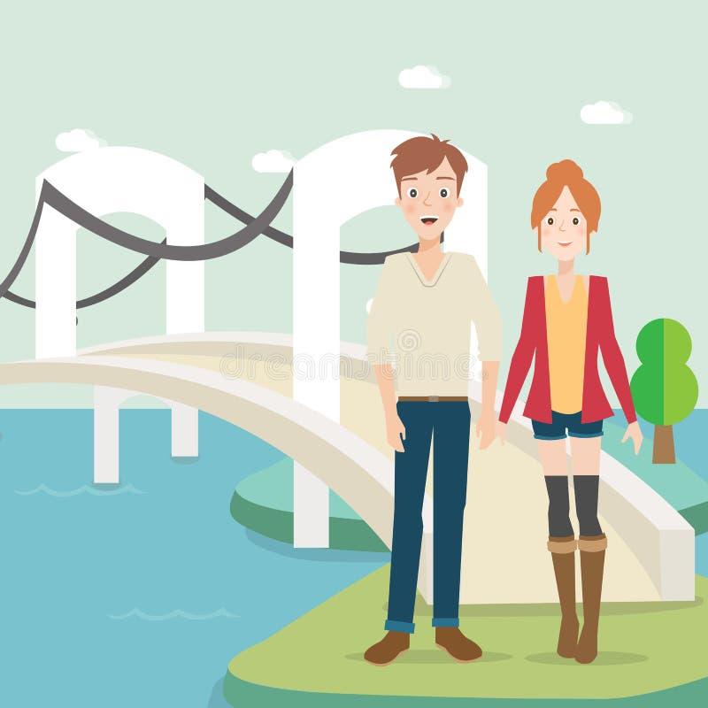 lyckligt barn för par illustration stock illustrationer