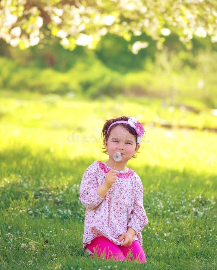 Lyckligt barn som utomhus blåser maskrosen i vår royaltyfri foto