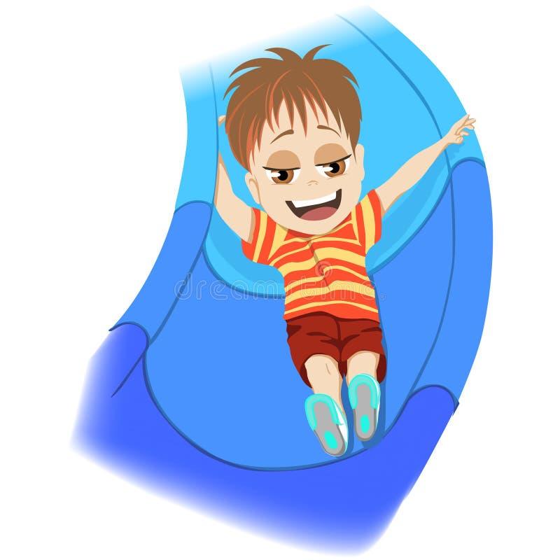 lyckligt barndombegrepp Ung pojke som spelar i en ungelekplats som skjuter ner en blå glidbana som skrattar med njutning i a royaltyfri illustrationer
