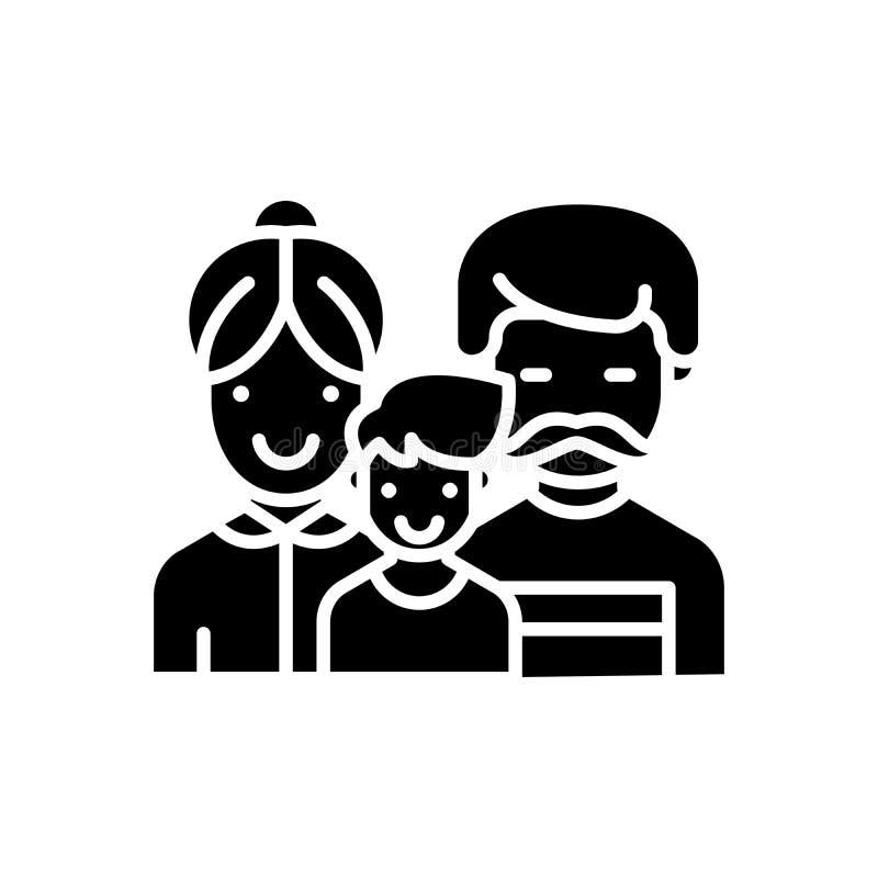 Lyckligt begrepp för familjsvartsymbol Lyckligt symbol för familjlägenhetvektor, tecken, illustration vektor illustrationer