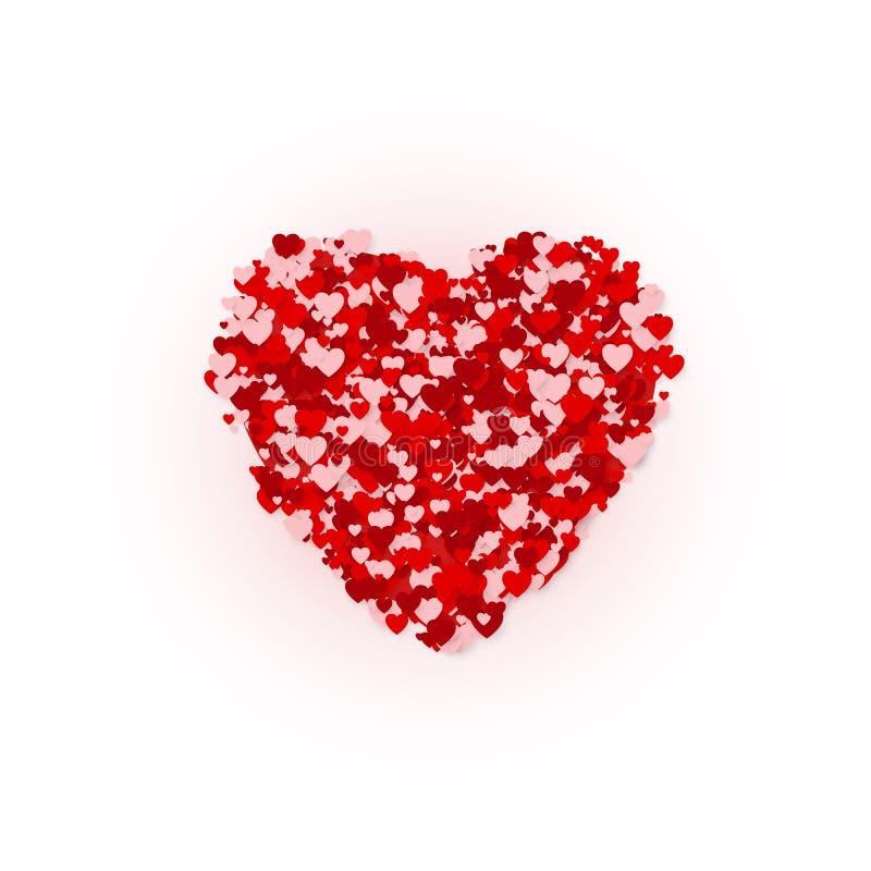 Lyckligt begrepp för kort för valentindaghälsning Silhuette för diagram för hjärtaramkonfettier också vektor för coreldrawillustr royaltyfri illustrationer
