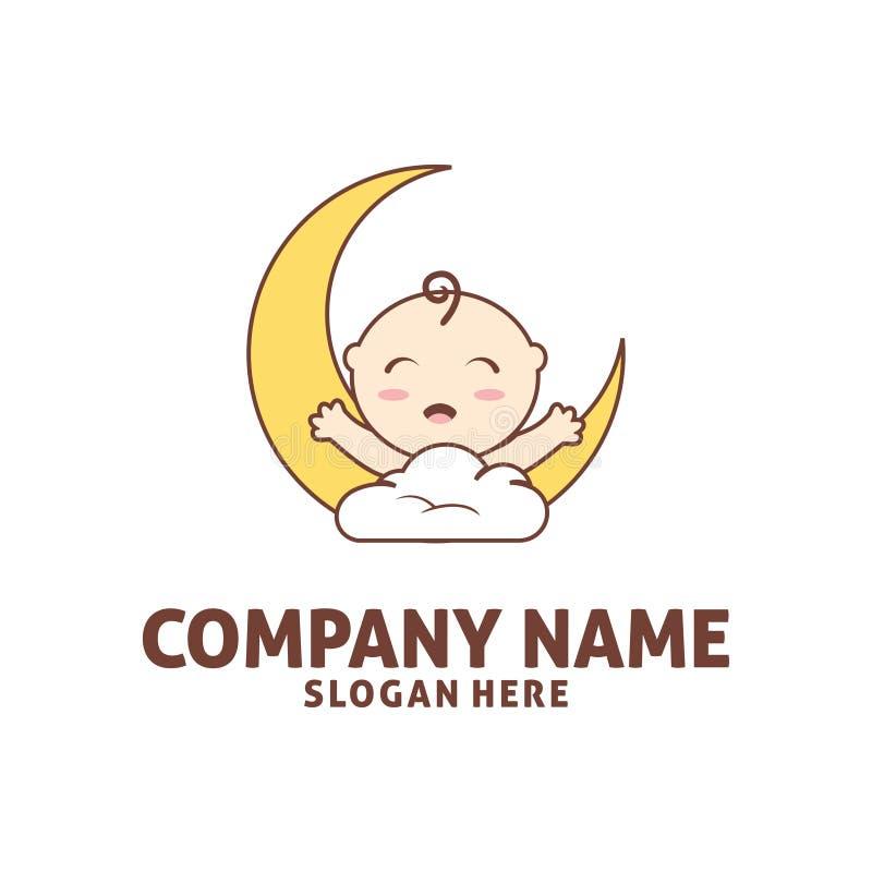 lyckligt behandla som ett barn sömn i moln shoppar symbolslogodesign stock illustrationer