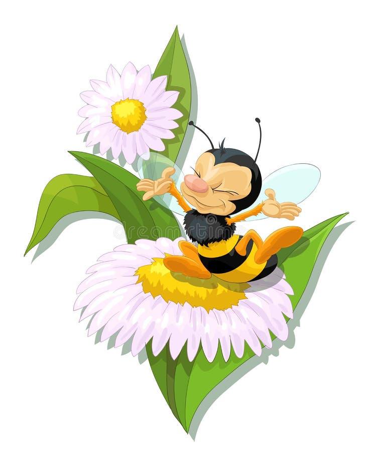 Lyckligt bi på blomman royaltyfri bild