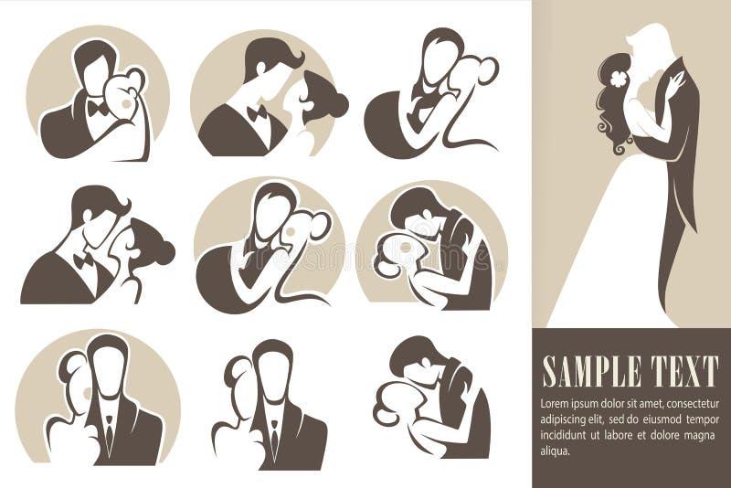 lyckligt bröllop stock illustrationer