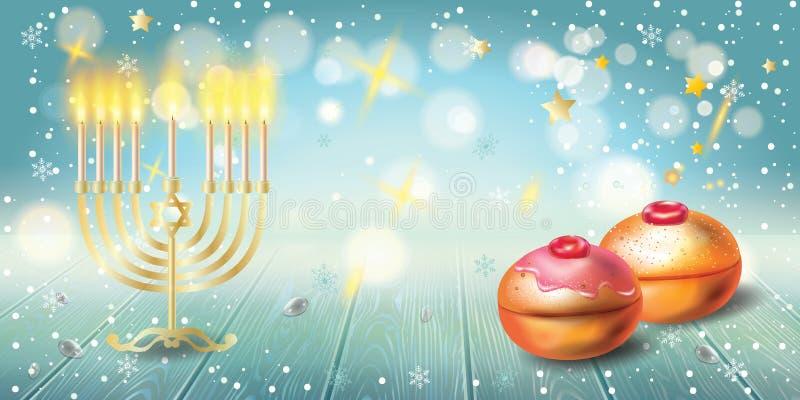 Lyckligt Chanukkahhälsningkort, menora, chanuka, dreidel, hanukabakgrund vektor illustrationer