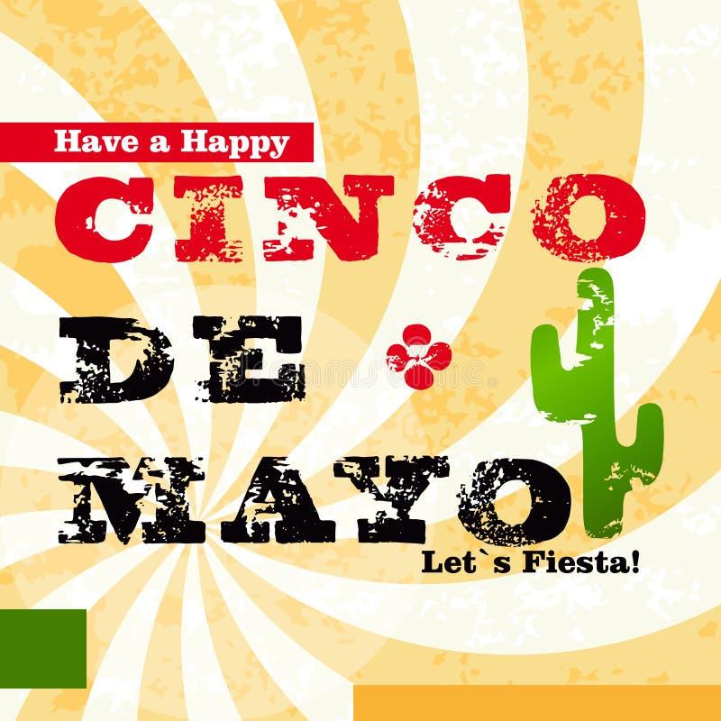Lyckligt Cinco De Mayo hälsningkort royaltyfri illustrationer