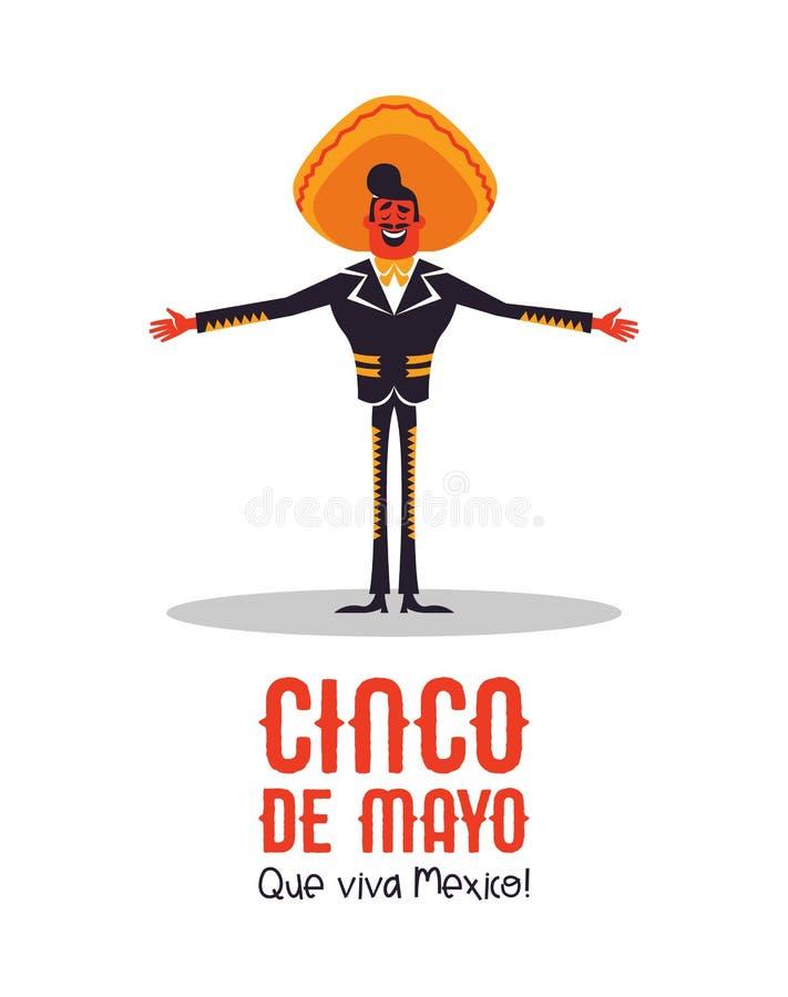 Lyckligt Cinco de Mayo kort av den mexikanska mariachimannen royaltyfri illustrationer
