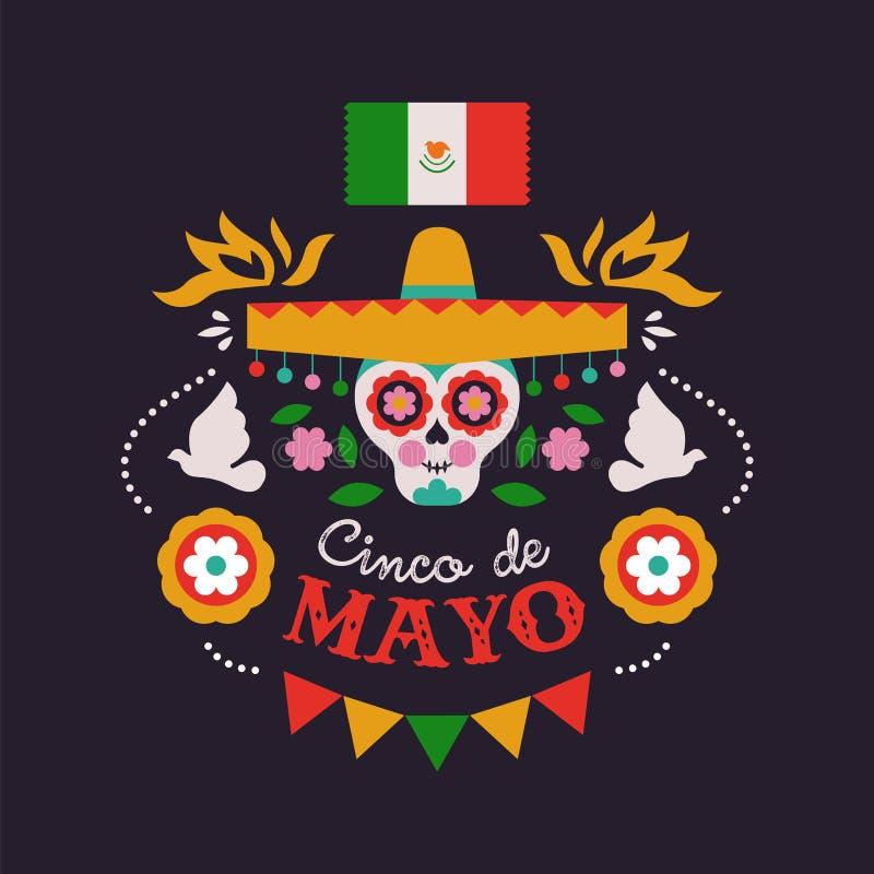 Lyckligt Cinco de Mayo kort av mariachiskallen vektor illustrationer