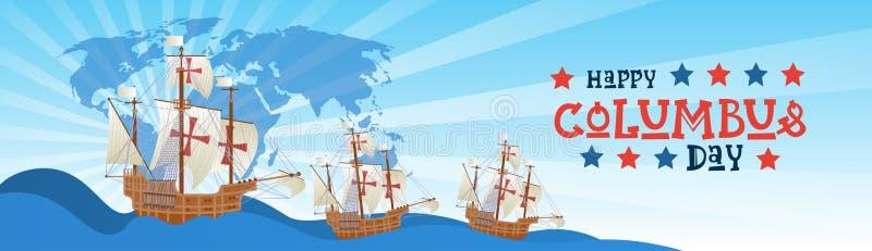 Lyckligt Columbus Day National Usa Holiday hälsningkort med skeppet i havet vektor illustrationer