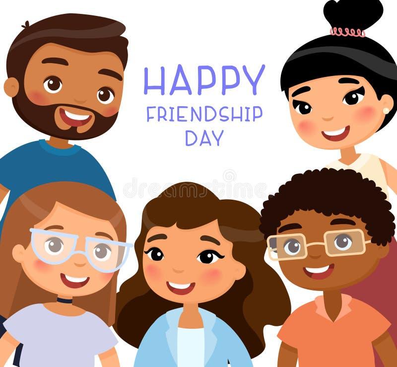 lyckligt dagkamratskap Fem internationella unga flickor och unga pojkevänner royaltyfri illustrationer