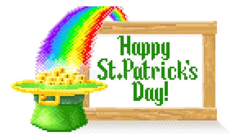 Lyckligt dagPIXEL Art Sign för St Patricks royaltyfri illustrationer