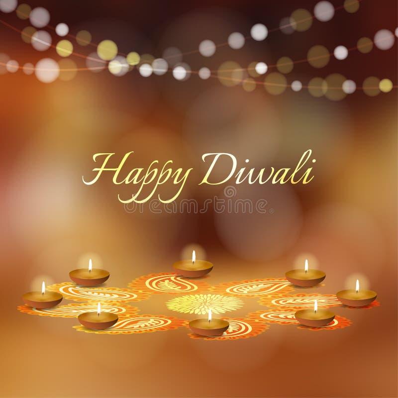 Lyckligt Diwali hälsningkort, inbjudan Indisk festival av ljus Diya olja tände lampor och den blom- prydnaden för rangoli vektor vektor illustrationer