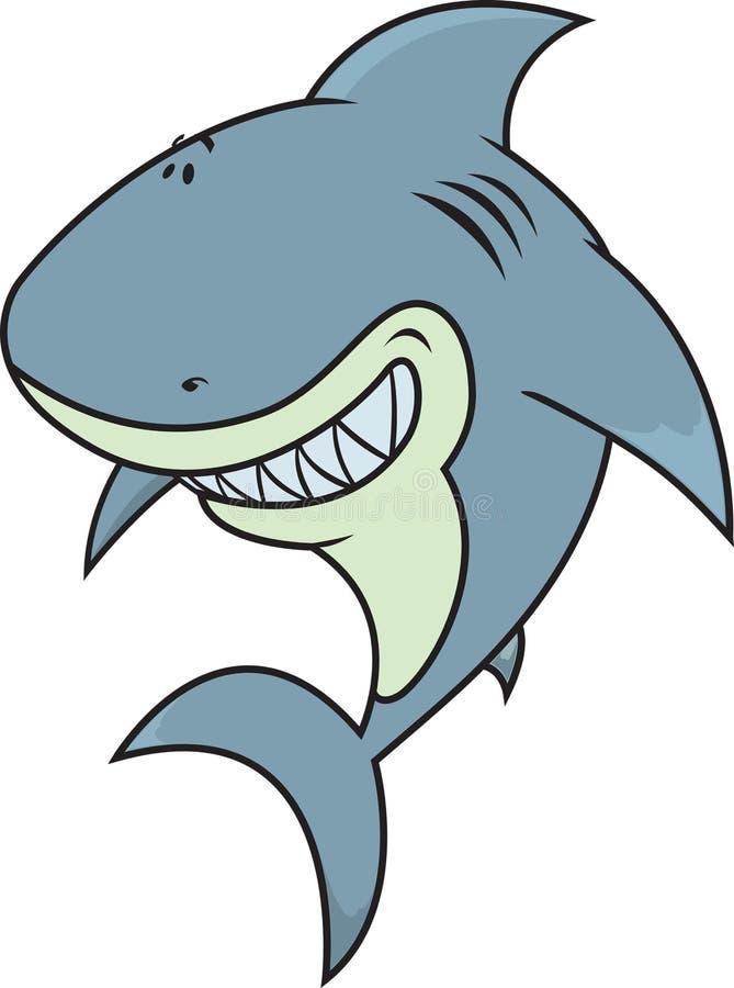 Lyckligt dumbom som ser den stora vita hajen royaltyfri illustrationer