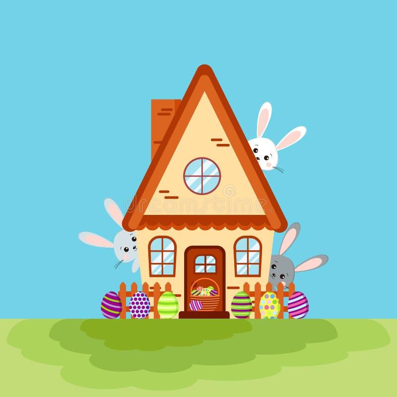 Lyckligt easter huskort med tre kaniner som kikar ut ur huset stock illustrationer