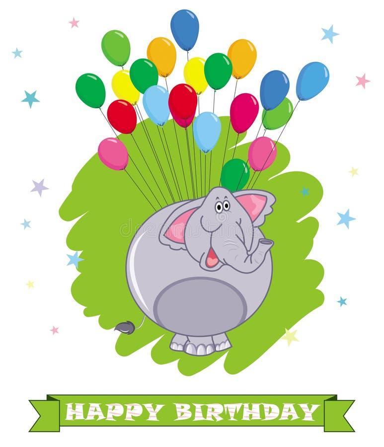 lyckligt födelsedagkort indier för illustration för tecknad filmelefant rolig Färgrik ballongbackgro vektor illustrationer