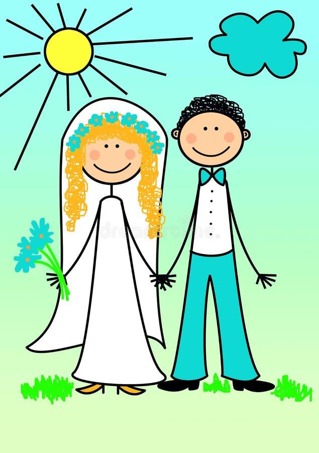 lyckligt för par som nytt att gifta sig royaltyfri illustrationer