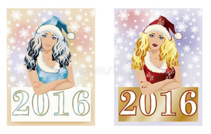 Lyckligt för santa för nytt år 2016 baner flicka stock illustrationer