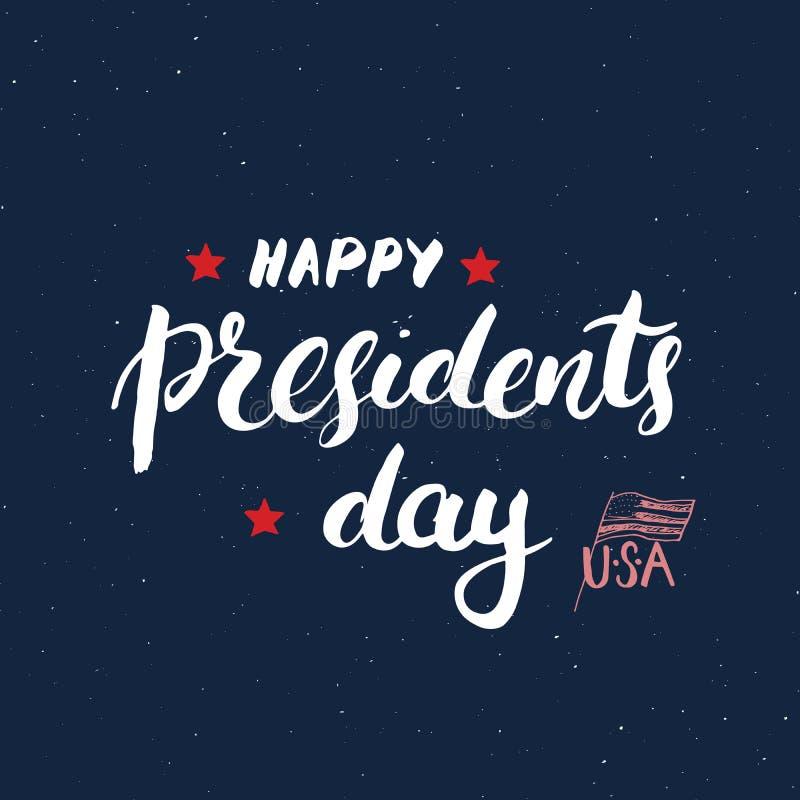 Lyckligt för USA för tappning för dag för president` s kort hälsning, Amerikas förenta staterberöm Handbokstäver, amerikansk feri royaltyfri illustrationer