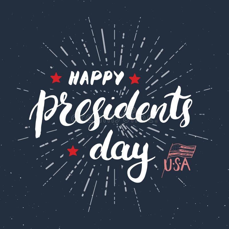 Lyckligt för USA för tappning för dag för president` s kort hälsning, Amerikas förenta staterberöm Handbokstäver, amerikansk feri stock illustrationer