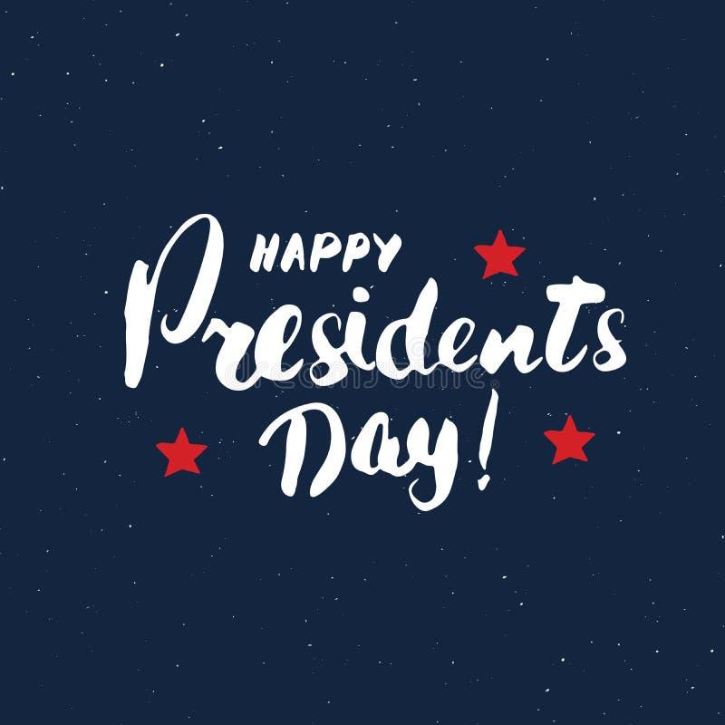 Lyckligt för USA för tappning för dag för president` s kort hälsning, Amerikas förenta staterberöm Handbokstäver, amerikansk feri vektor illustrationer