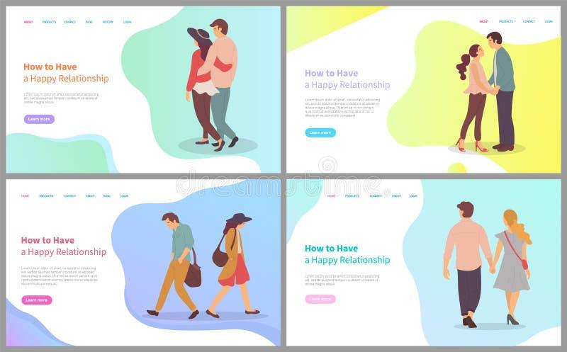 Lyckligt förhållande, parkänsla, förälskelsevektor royaltyfri illustrationer
