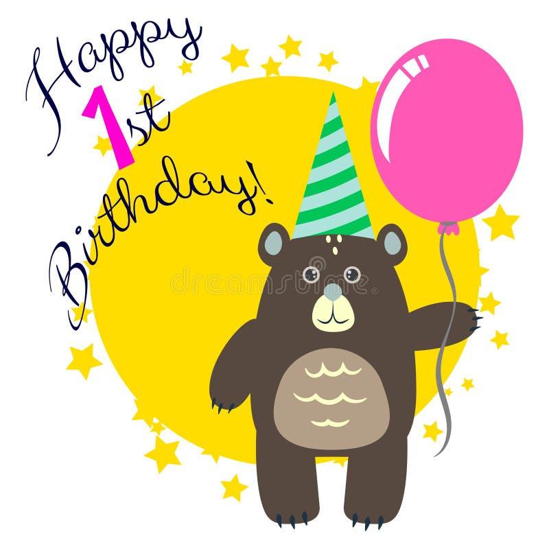 Lyckligt första födelsedaghälsningkort med björnen stock illustrationer