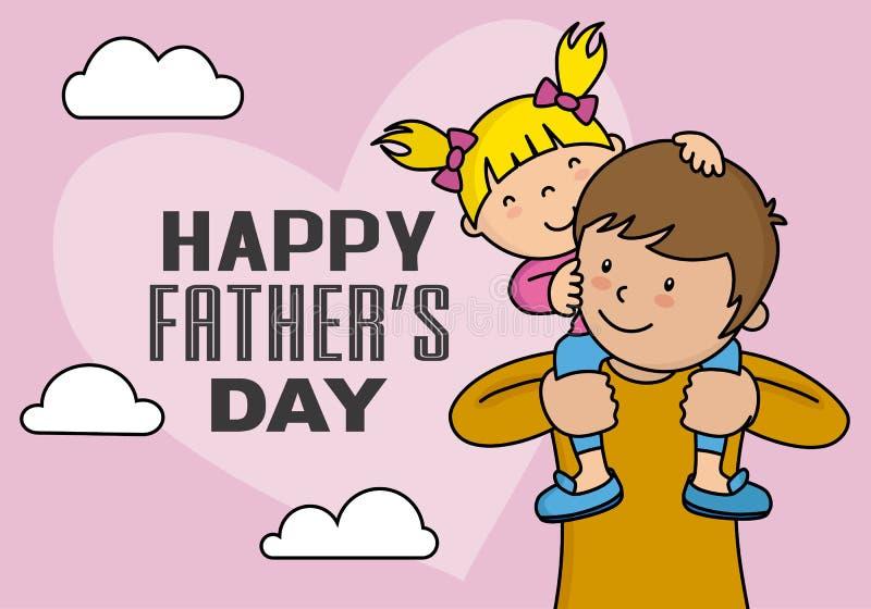 Lyckligt fader dagkort stock illustrationer