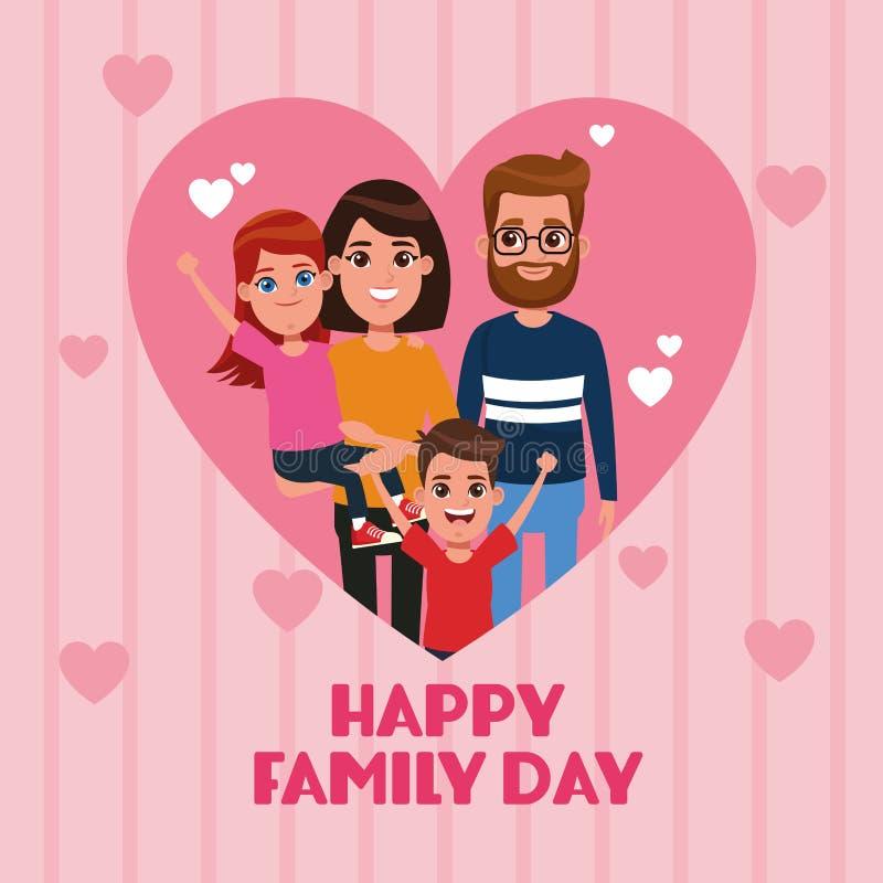 Lyckligt familjdagkort vektor illustrationer