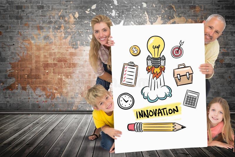 Lyckligt familjinnehavplakat med innovationtext och symboler royaltyfria bilder