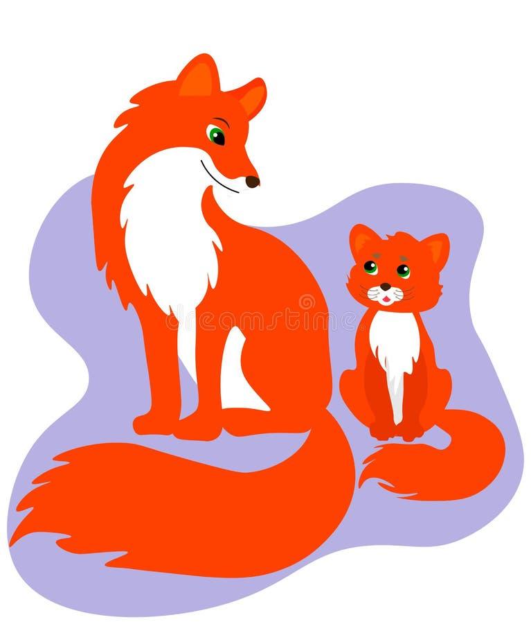 Lyckligt familjkort Gullig r?vfamilj stock illustrationer