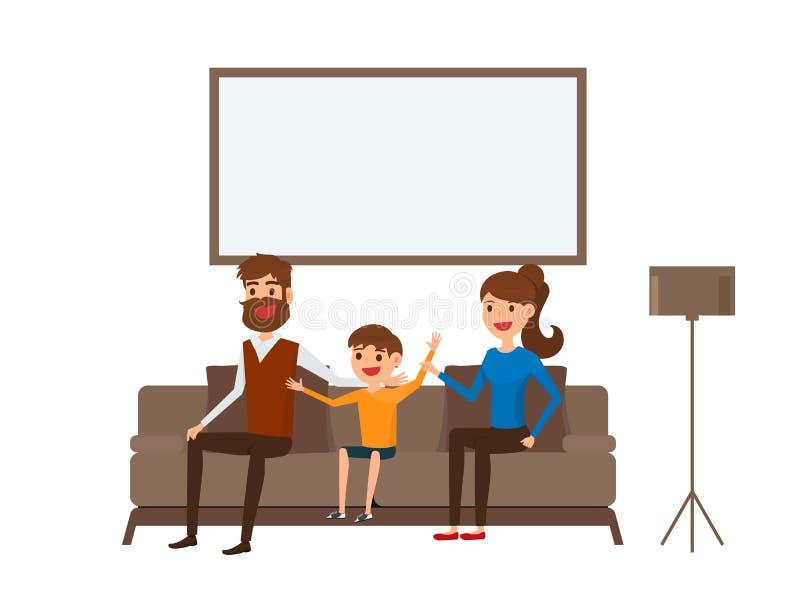 Lyckligt familjsammanträde på soffan i vardagsrum Fader, moder och barn Sänka designstil stock illustrationer