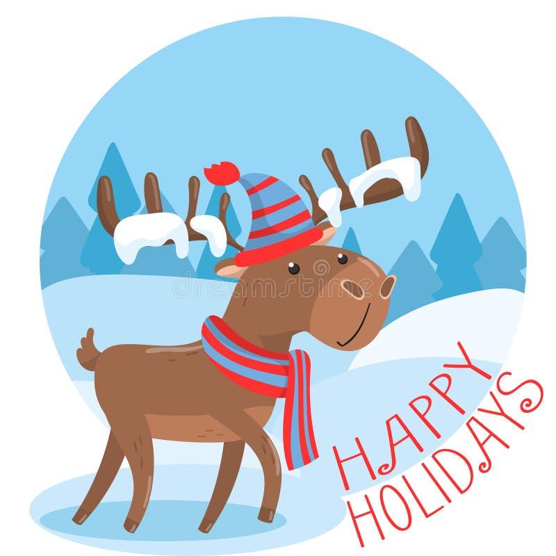 Lyckligt feriehälsningkort med gulliga hjortar i stuckit färgrikt baner för hatt- och halsdukhjortar eller affischmallvektor royaltyfri illustrationer