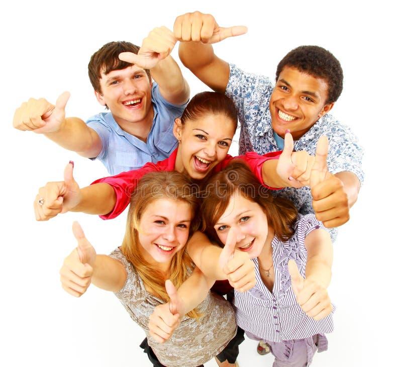 lyckligt folk för tillfällig grupp arkivfoto