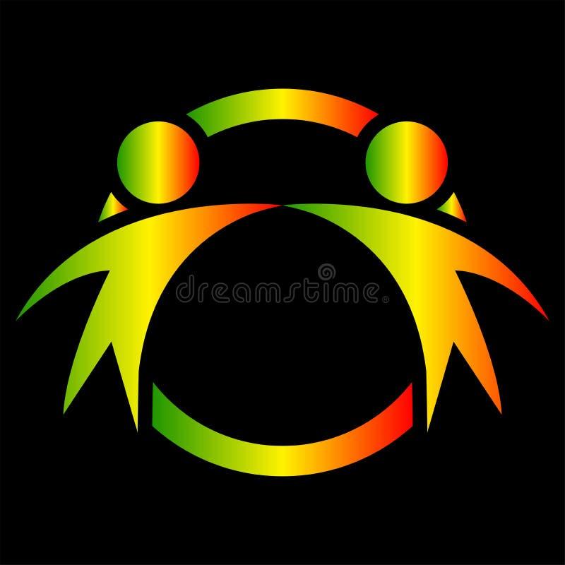 Lyckligt folk för vektordiagram två i en rund färgrik logo symbolslagarbete royaltyfri illustrationer