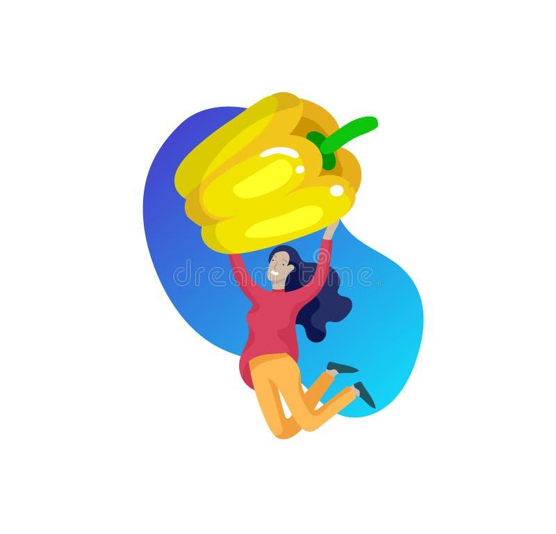 Lyckligt folk med gr?nsaker som hoppar och dansing Vegetarianism sund livsstil Veggiereceptet, vegetarian bantar, k?tt royaltyfri illustrationer
