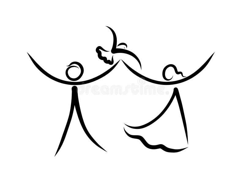 Lyckligt folk och ett fågelflyg från deras händer royaltyfri illustrationer