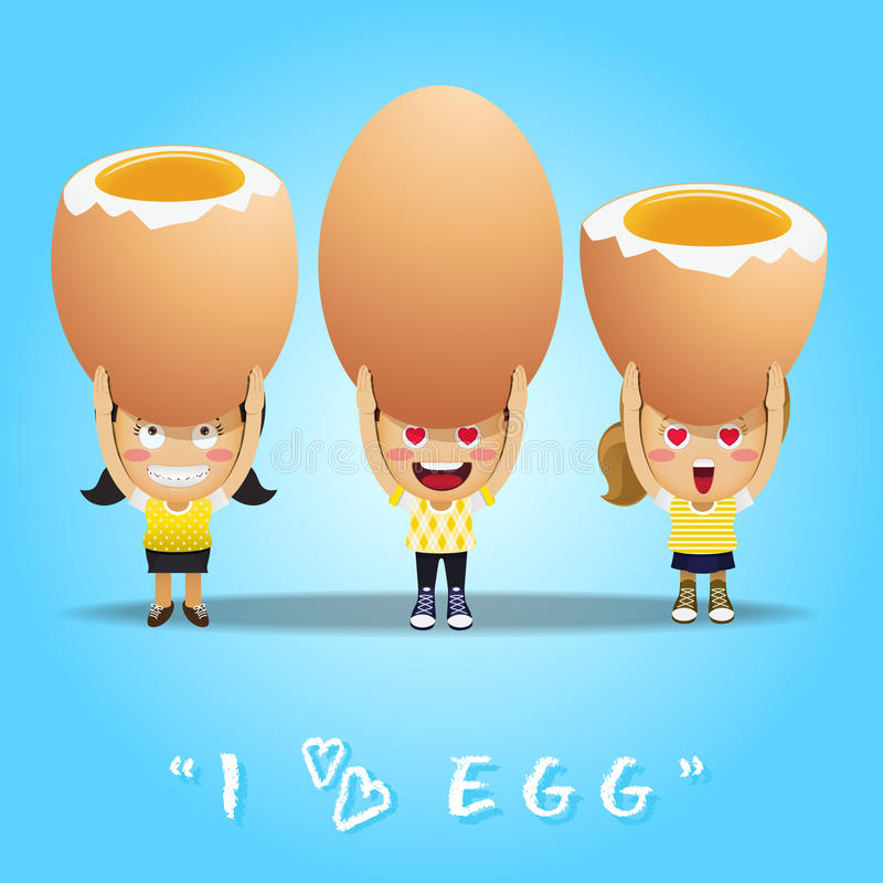Lyckligt folk som bär stora ägg royaltyfri illustrationer