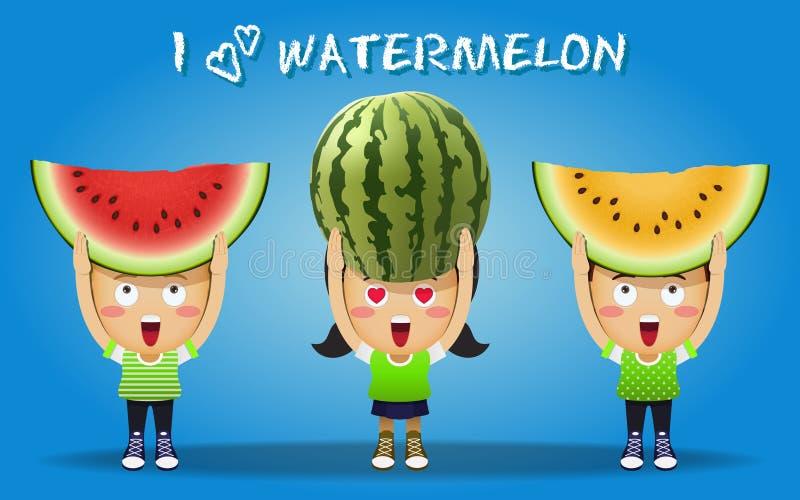 Lyckligt folk som bär stora röda och gula vattenmelon vektor illustrationer