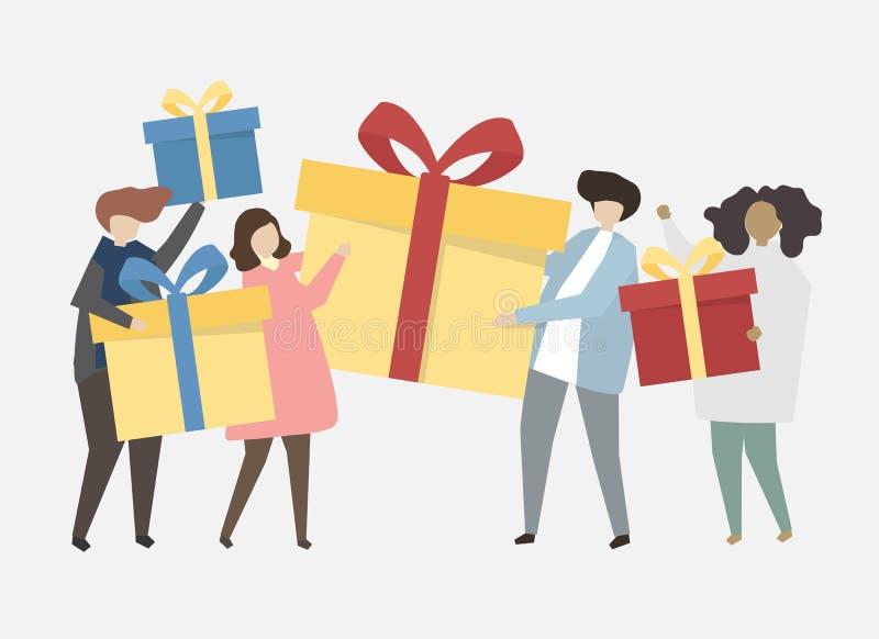 Lyckligt folk som firar en födelsedagillustration royaltyfri illustrationer