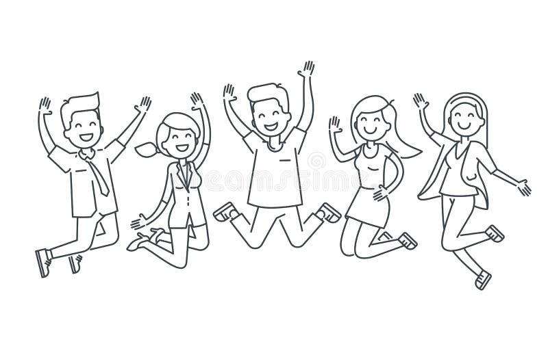 Lyckligt folk som hoppar linjen illustration som isoleras på vit bakgrund royaltyfri illustrationer