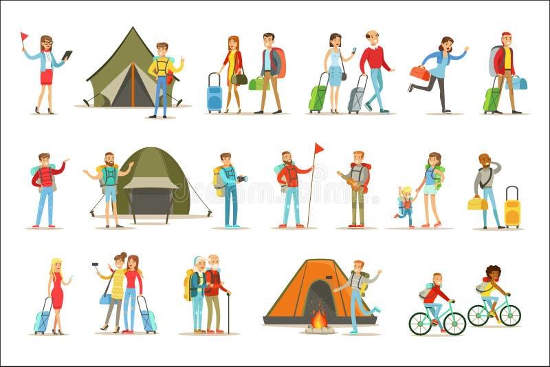 Lyckligt folk som reser och har den campa turuppsättningen av plana tecknad filmturisttecken vektor illustrationer