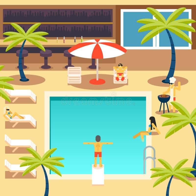 Lyckligt folk Sunny Pool Hotel Summer Vacation stock illustrationer