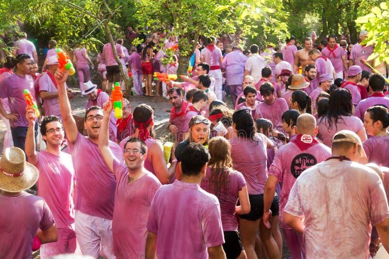 Lyckligt folk under Batalla del vino arkivfoto